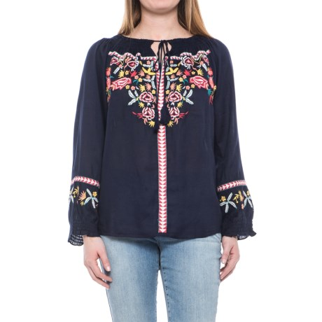 Solitaire Embroidered Peasant Shirt - Long Sleeve (For Women) in Navy