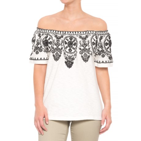 Solitaire Embroidered Peasant Top - Short Sleeve (For Women) in Ivory/Black
