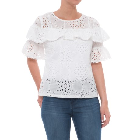 Solitaire Eyelet Flutter Sleeve Shirt - Short Sleeve (For Women) in White