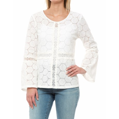 Solitaire Lace/Crochet Bell Sleeve Shirt - Long Sleeve (For Women) in White