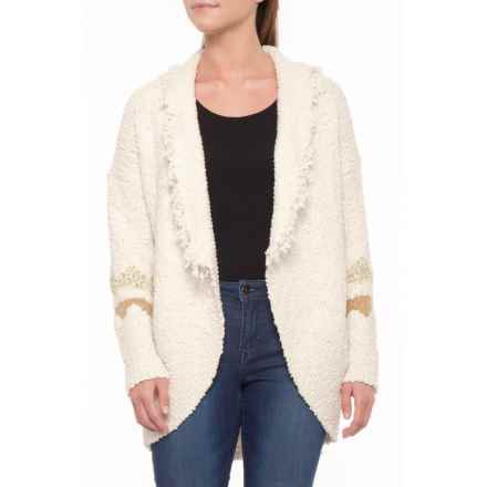 Solitaire Patterned Sleeve Cardigan Sweater - Open Front (For Women) in Cream - Closeouts