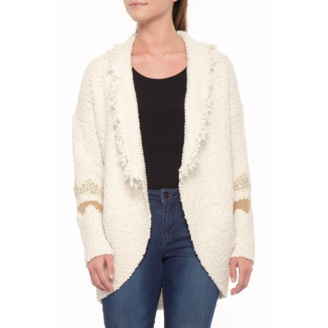 d57361931212d5 Solitaire Patterned Sleeve Cardigan Sweater - Open Front (For Women) in  Cream