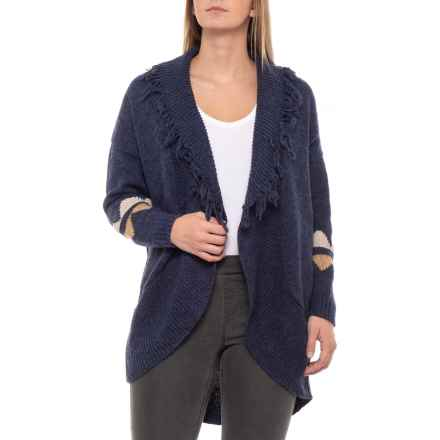 Solitaire Printed Sleeve Cardigan Sweater (For Women) in Navy Blue - Closeouts