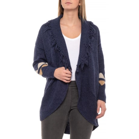 6b20401b4b4c50 Solitaire Printed Sleeve Cardigan Sweater (For Women) in Navy Blue