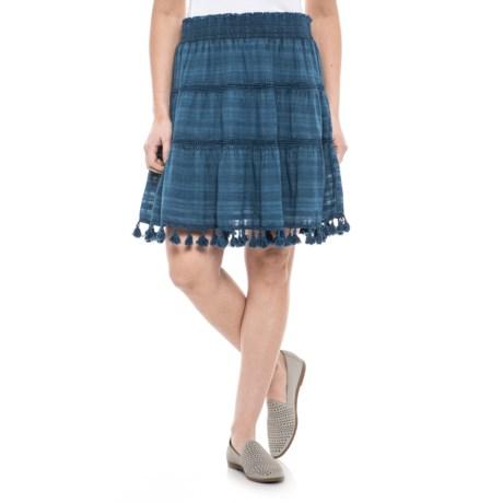 Solitaire Tasseled Skirt (For Women) in Blue