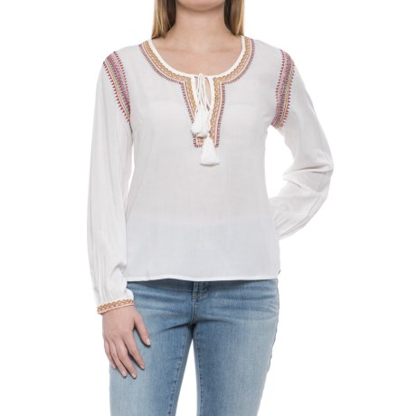 Solitaire Woven Embroidered Shirt - Long Sleeve (For Women) in White/Red