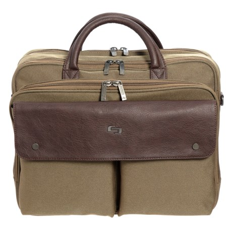 Solo Rucker Briefcase in Khaki/Brown