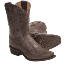 "Sonora Jessie Tooled Cowboy Boots - 11"", Leather, Modified Toe (For Women) in Mocha - Closeouts"