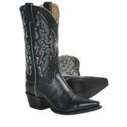 "Sonora Leather Cowboy Boots - 11"", Snip Toe (For Women) in Black"