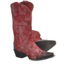 Sonora Sand Dune Cowboy Boots - Suede, Snip Toe (For Women) in Rough Out Red - Closeouts