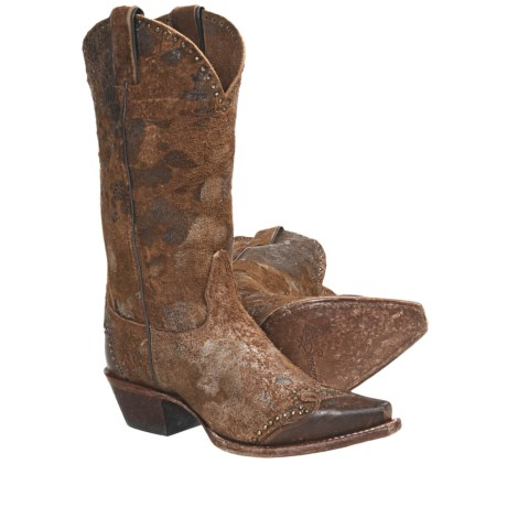 Sonora Sand Dune Cowboy Boots - Suede, Snip Toe (For Women) in Rough Out Brown