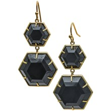 Sonya Renee Double Hexagon Earrings - 18K Gold Plated (For Women) in Pyrite - Closeouts