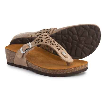 SOPHIA MILANO Made in Italy Elle 37 Sandals - Suede (For Women) in Taupe - Closeouts