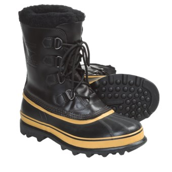 Sorel Caribou Wool Pac Boots - Waterproof, Insulated (For Men) in Black/Ochre