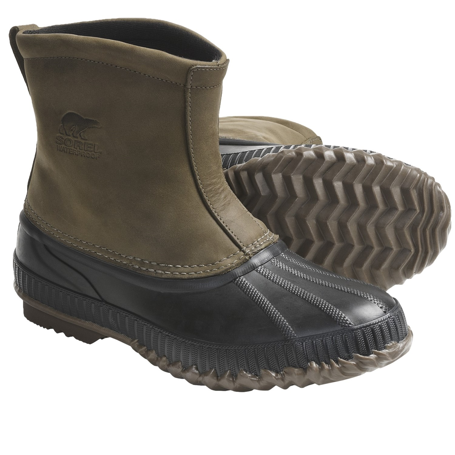 Waterproof-Insulated Leather Boots - Slip-On (For Men) in Breen