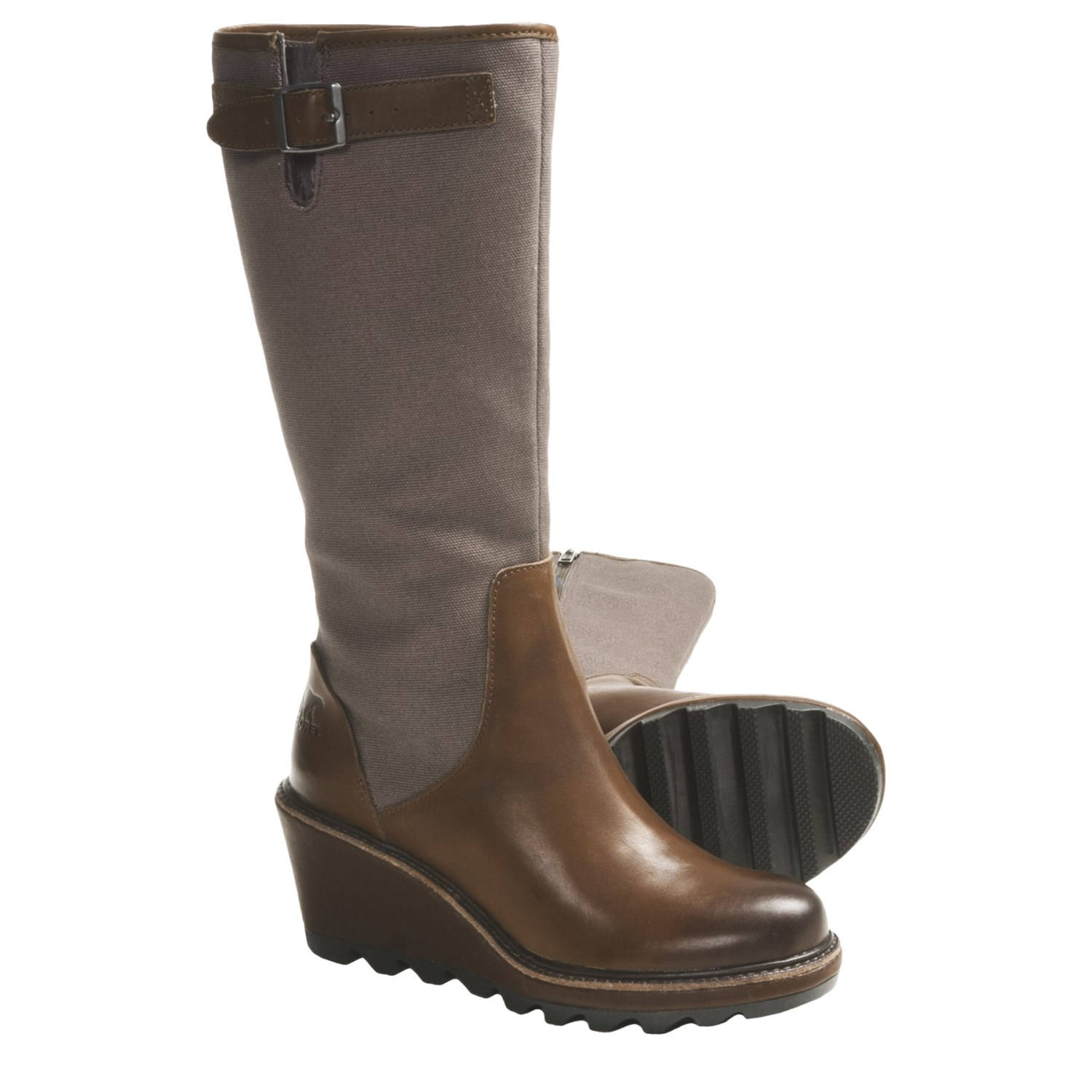 Sorel Cool Canvas Wedge Boots (For Women) in Brown