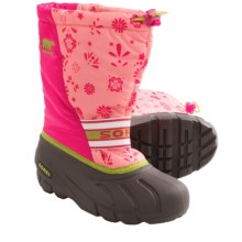 Sorel Cub Graphic 13 Snow Boots - Insulated (For Youth Girls) in Coral Pink/Green Tea - Closeouts