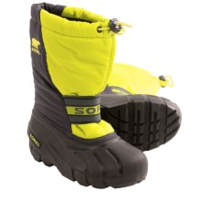 Sorel Cub Pac Boots - Insulated (For Kids) in Chartreuse/Coal - Closeouts
