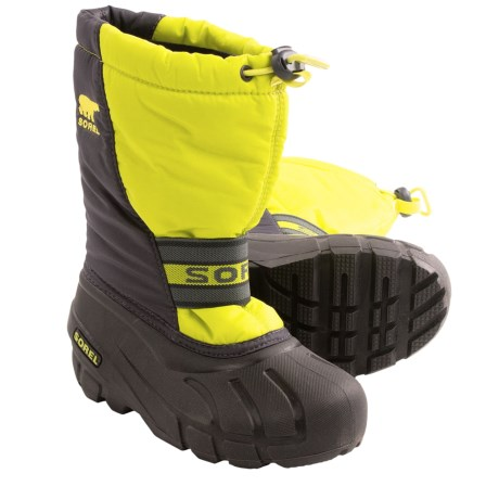 Sorel Cub Pac Boots - Insulated (For Kids) in Chartreuse/Coal
