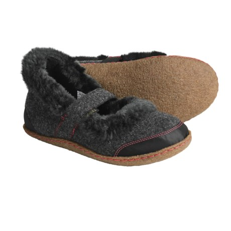 Sorel Felt Nakiska Mary Jane Slippers - Faux-Fur Lining (For Women) in 048 Coal/Intense Red