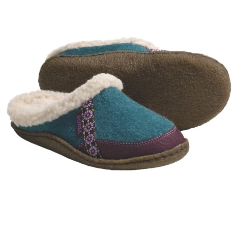 Sorel Felt Nakiska Slippers - Faux-Fur Lining (For Kids and Youth) in Hydangea/Royal Purple