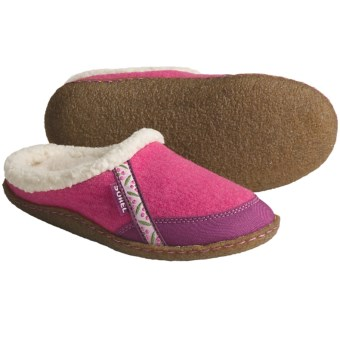Sorel Felt Nakiska Slippers - Faux-Fur Lining (For Kids and Youth) in Very Pink/Tarte