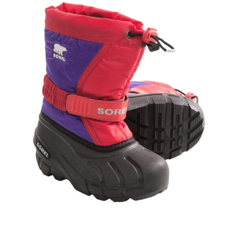 Sorel Flurry Winter Pac Boots - ThermoPlus, Waterproof, Insulated (For Kids) in Juicy/Cool Grey