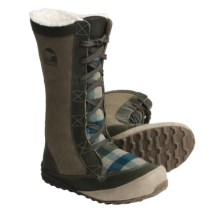 Sorel MacKenzie Lace Holiday Winter Boots - Tall, Fleece Lined (For Women) in Sage/Buffalo - Closeouts