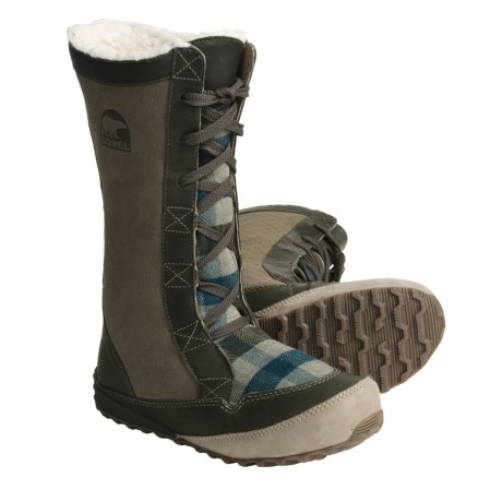 Sorel MacKenzie Lace Holiday Winter Boots - Tall, Fleece Lined (For Women) in Sage/Buffalo