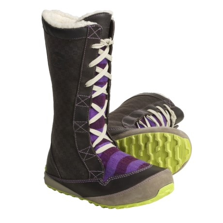 Sorel MacKenzie Lace Holiday Winter Boots - Tall, Fleece Lined (For Women) in Stout/Royal Purple