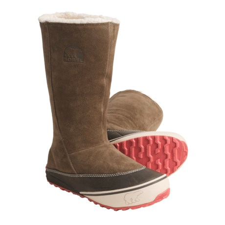 Sorel MacKenzie Slip Boots - Tall, Fleece Lined (For Women) in Saddle/Wild Melon