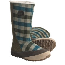 Sorel MacKenzie Slip Holiday Winter Boots - Tall, Fleece-Lined (For Women) in Peat Moss/Deep Teal - Closeouts