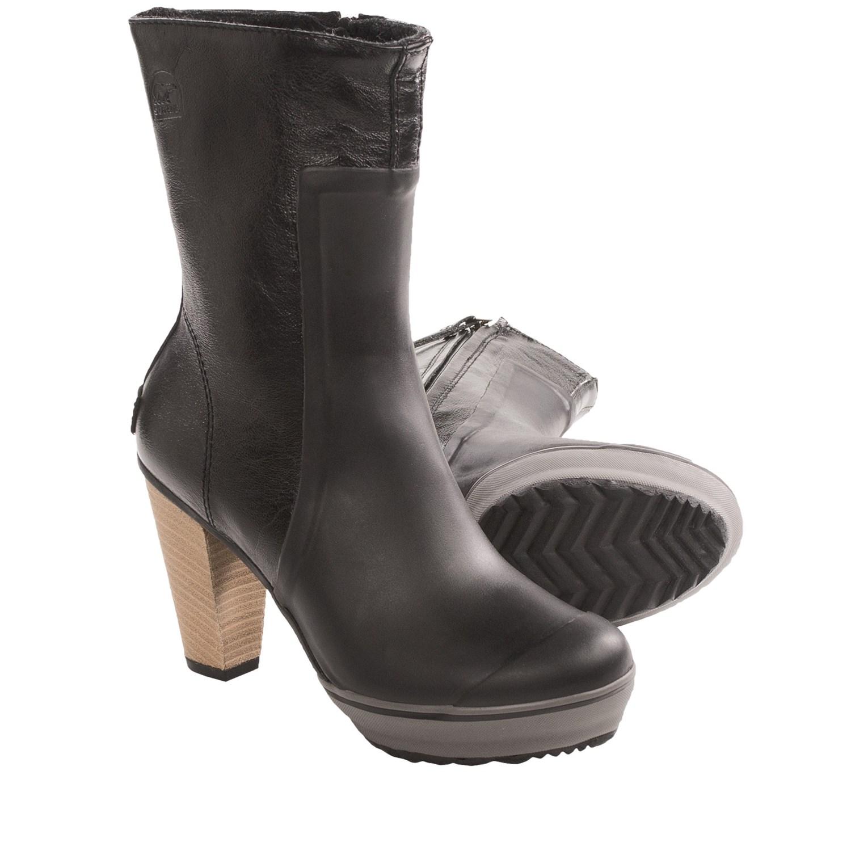 Black Rain Boots For Women Sorel medina rain tall boots