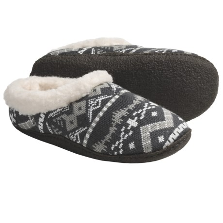 Sorel Nakiska Knit Slippers - Faux-Fur Lining (For Women) in Dark Shadow