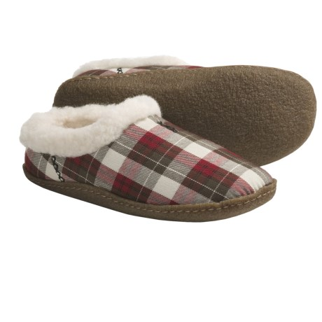 Sorel Nakiska Plaid Slippers - Faux-Fur Lining (For Women) in Chili Pepper