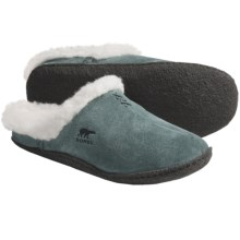 Sorel Nakiska Slides - Suede (For Women) in Balsam Green/Darkest Spruce - Closeouts