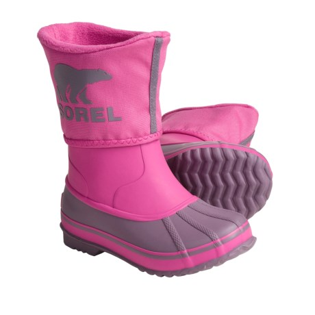 Sorel Rainbou Pac Boots - Waterproof, Insulated (For Kids and Youth) in Very Pink Crushed Berry