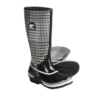 Sorel Sorellington TXT Boots - Waterproof Rubber (For Women) in Black/Winter White