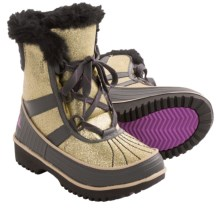Sorel Tivoli II Glitter Snow Boots - Waterproof, Insulated (For Kid Girls) in Pale Gold/Razzle - Closeouts