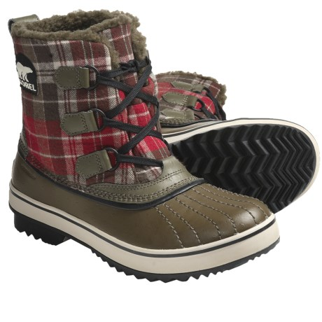 Sorel Tivoli Plaid Pac Boots - Waterproof (For Women) in Dark Olive/Black