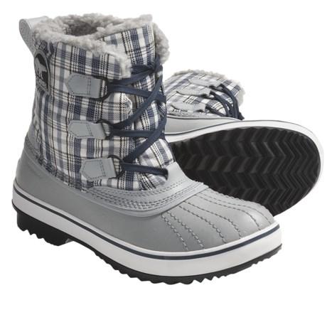Sorel Tivoli Tweed Snow Boots - Waterproof (For Women) in Limestone/Dress Blue