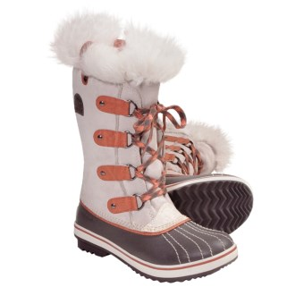 Sorel Tofino Tall Winter Boots (For Youth) in Winter White/Bright Peach