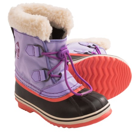 Sorel Yoot Nylon Winter Pac Boots - Waterproof (For Kids) in Whitened Violet/Razzle