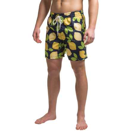 Southern Proper Swim Trunks - Built-In Brief (For Men) in Navy/Lemons - Closeouts