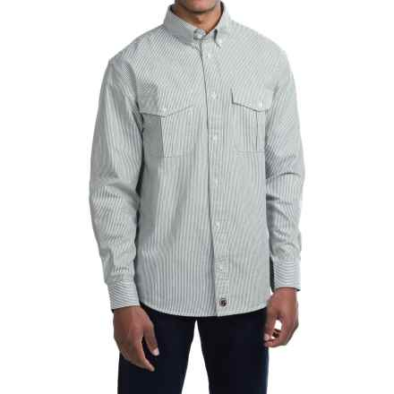 Southern Proper Ticking Stripe Shirt - Long Sleeve (For Men) in Green/White - Closeouts