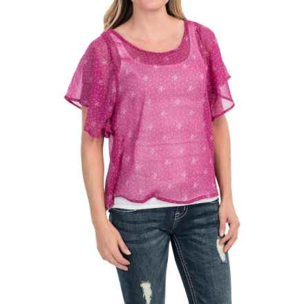 Southern Thread Chiffon Shirt - Short Sleeve (For Women) in Purple - Closeouts