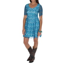 Southern Thread Lace Dress - Short Sleeve (For Women) in Blue - Closeouts