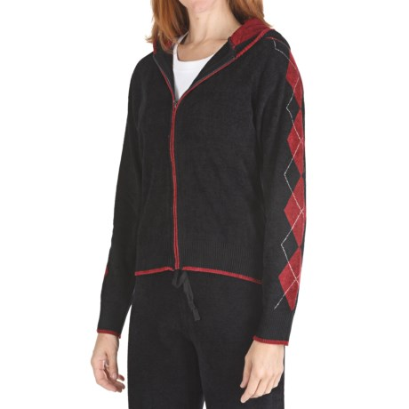 SoyBu Argyle Hoodie Sweatshirt - Full Zip (For Women) in Black