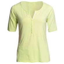 SoyBu Henley T-Shirt - Rayon-Organic Cotton, Short Sleeve (For Women) in Palm - Closeouts
