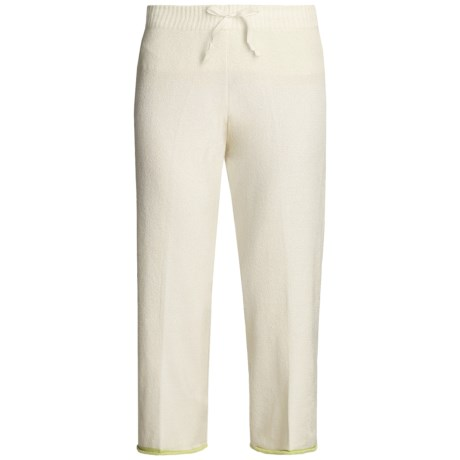 SoyBu Micro-Terry Capri Pants - Drawstring Waist (For Women) in Antique White